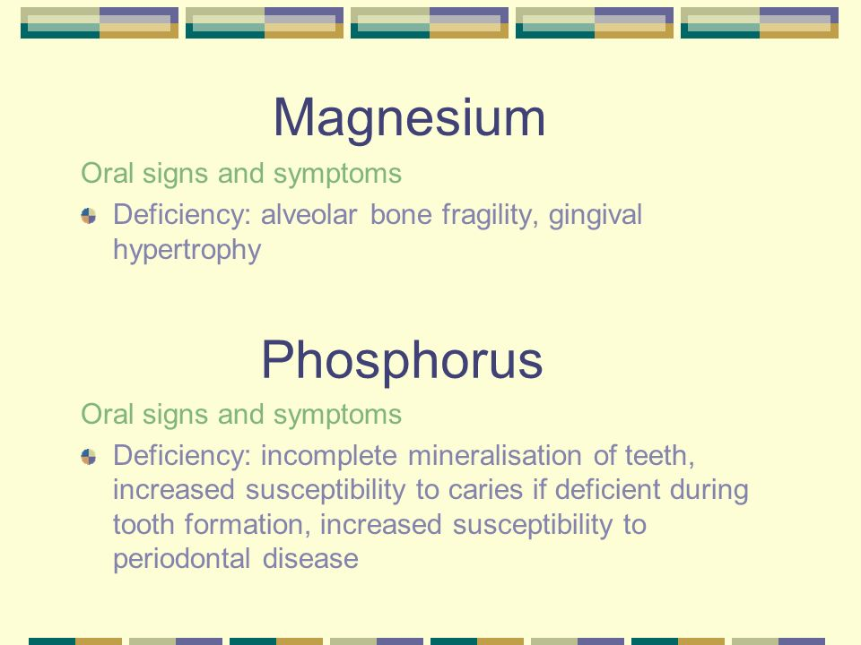 Magnesium Phosphorus Oral signs and symptoms