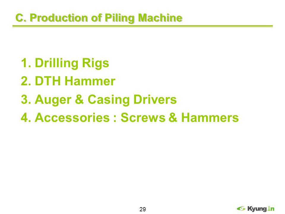 C. Production of Piling Machine