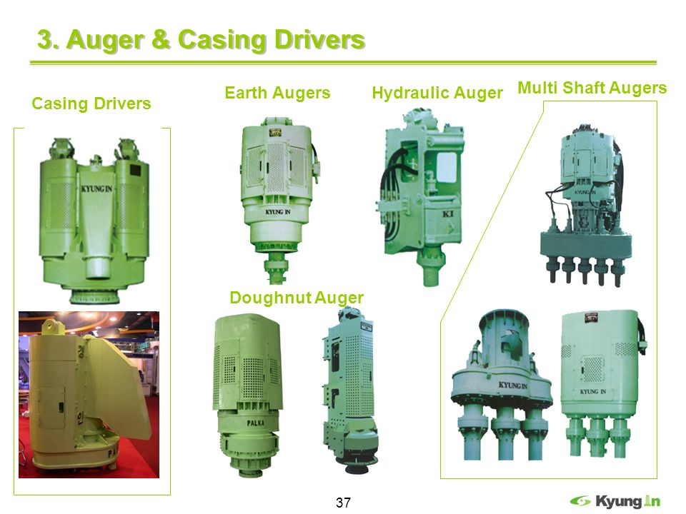 3. Auger & Casing Drivers Multi Shaft Augers Earth Augers