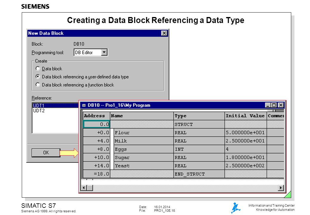 Creating a Data Block Referencing a Data Type