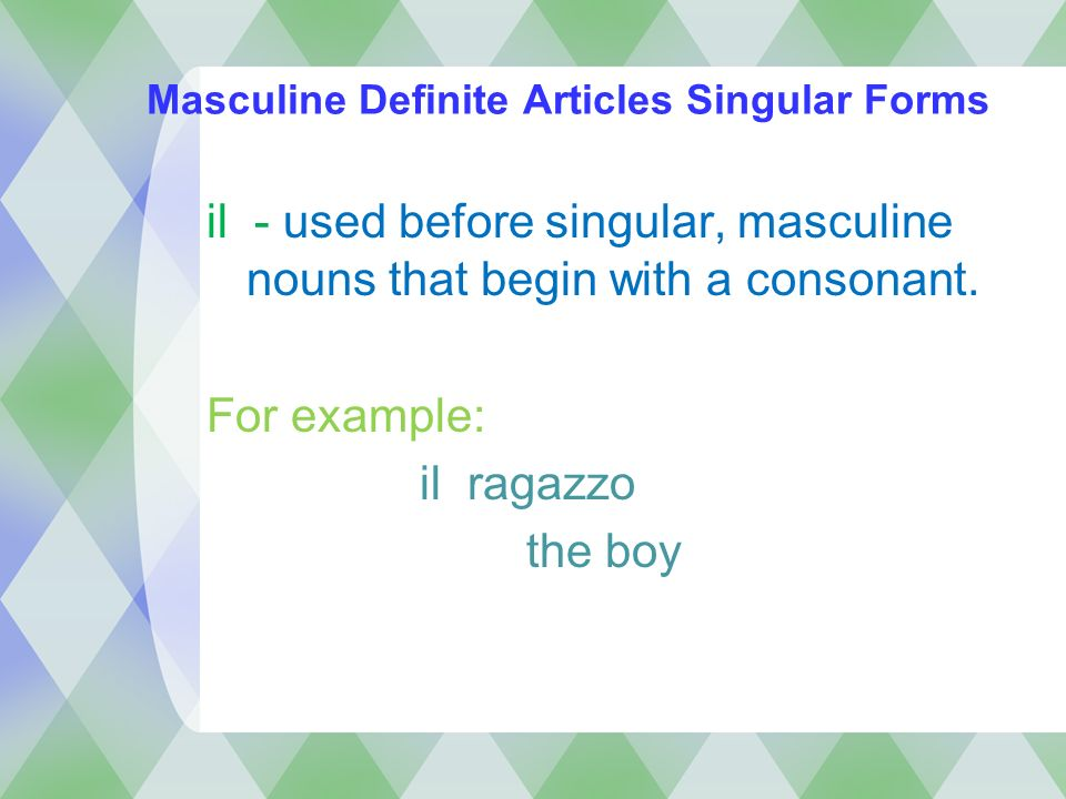 Masculine Definite Articles Singular Forms
