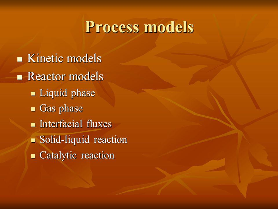 Process models Kinetic models Reactor models Liquid phase Gas phase