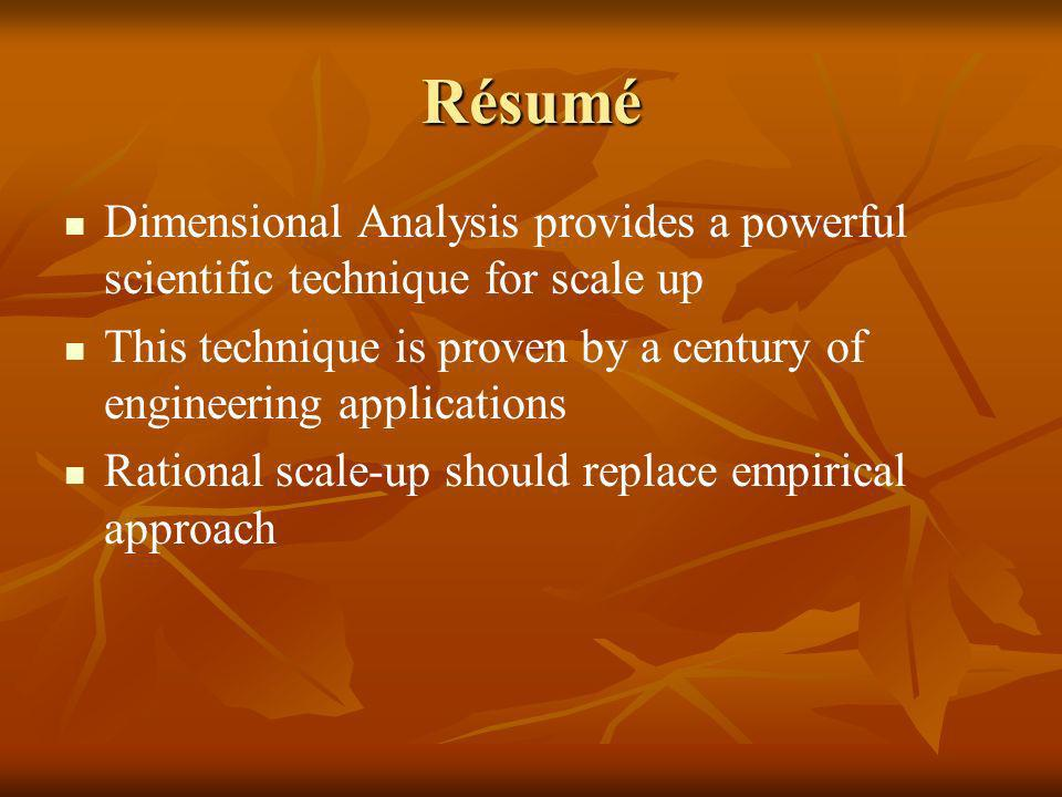 Résumé Dimensional Analysis provides a powerful scientific technique for scale up. This technique is proven by a century of engineering applications.