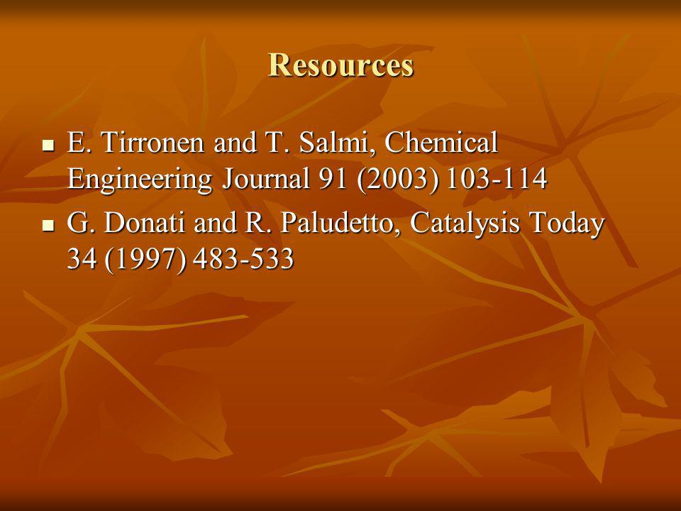Resources E. Tirronen and T. Salmi, Chemical Engineering Journal 91 (2003)