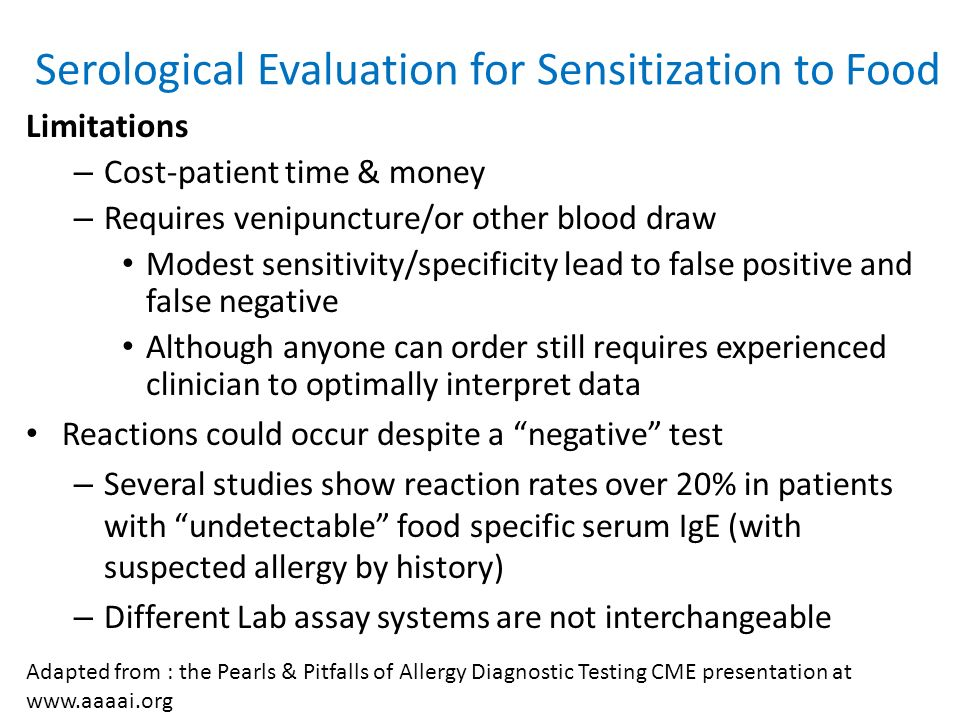 Serological Evaluation for Sensitization to Food