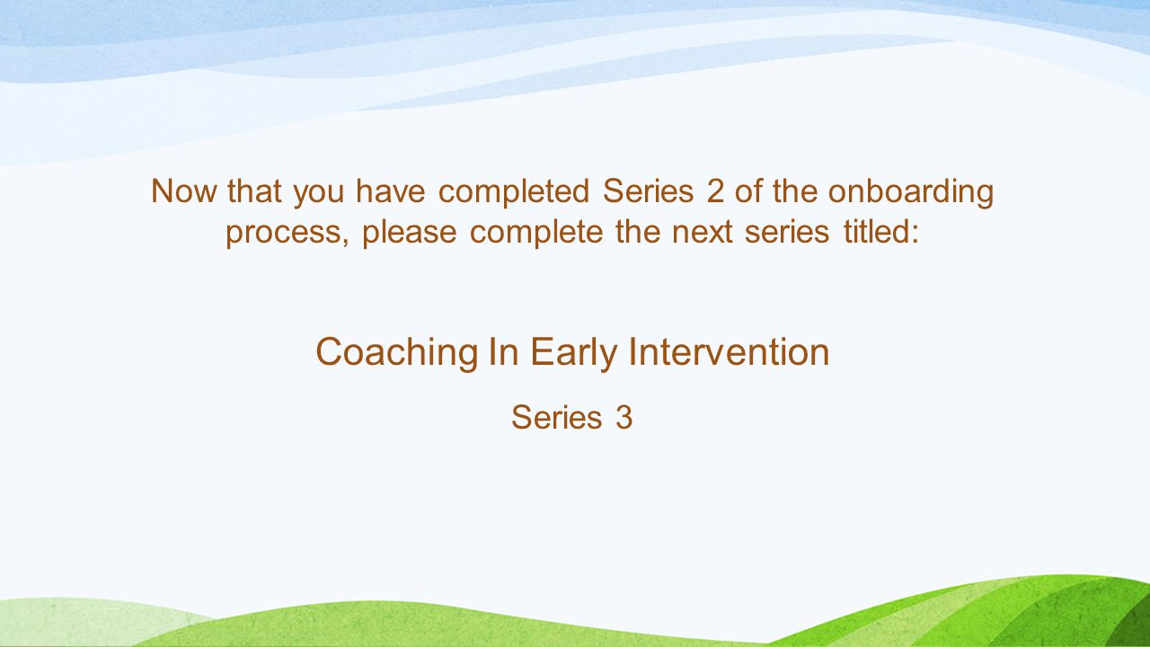 Coaching In Early Intervention