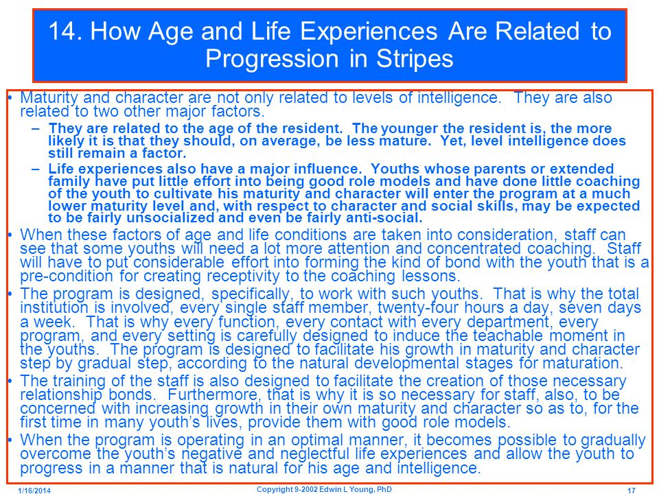14. How Age and Life Experiences Are Related to Progression in Stripes