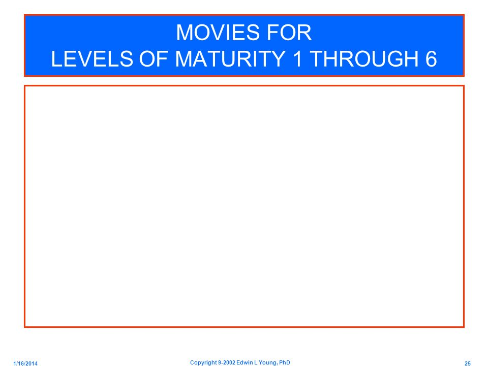 MOVIES FOR LEVELS OF MATURITY 1 THROUGH 6
