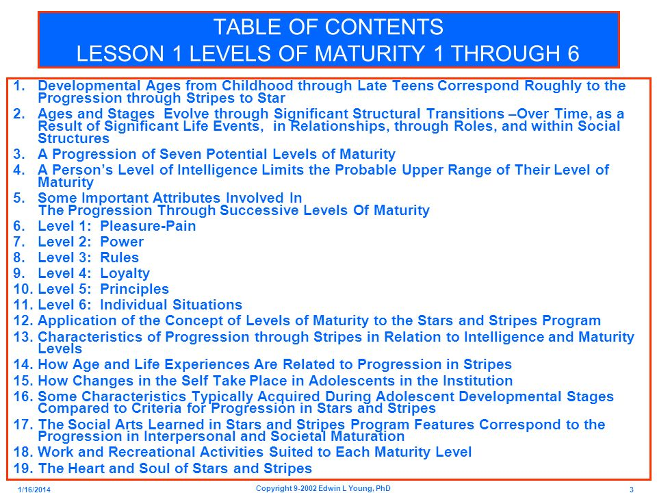 TABLE OF CONTENTS LESSON 1 LEVELS OF MATURITY 1 THROUGH 6