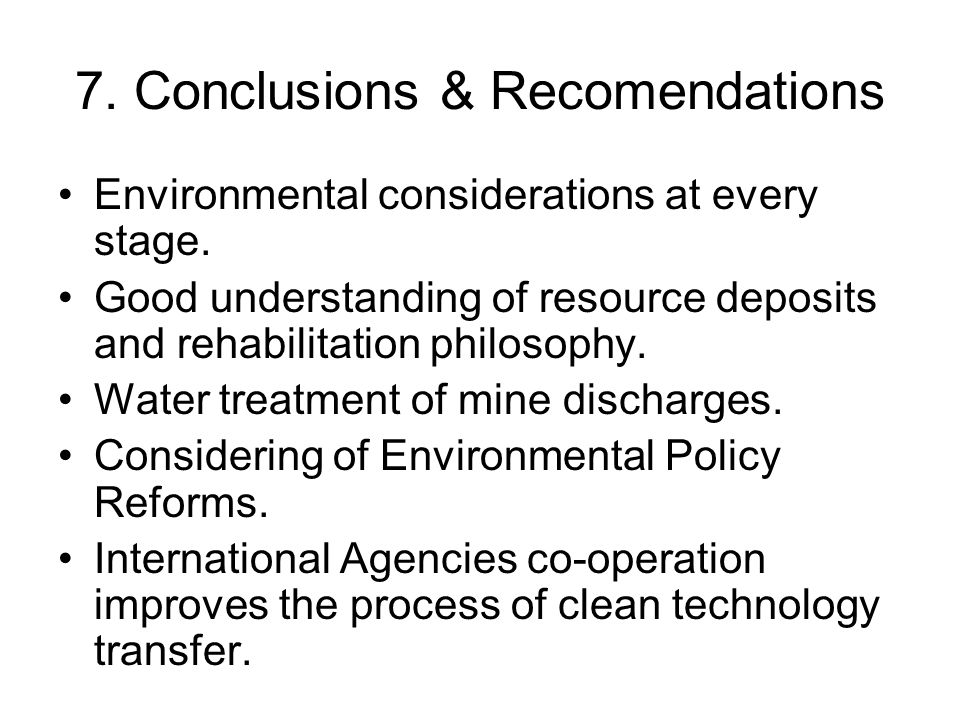 7. Conclusions & Recomendations
