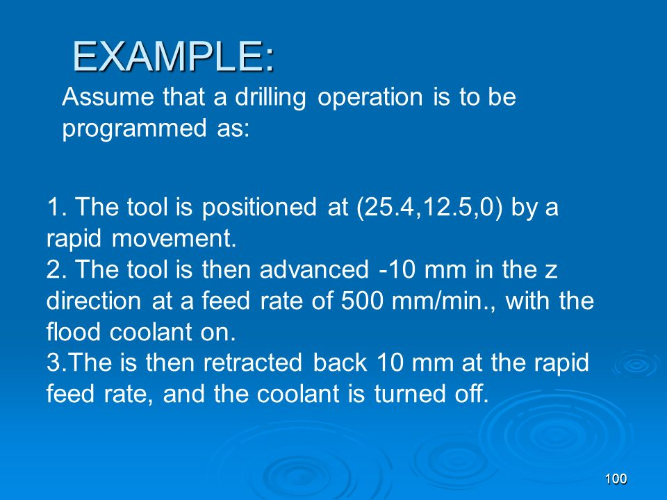 EXAMPLE: Assume that a drilling operation is to be programmed as: