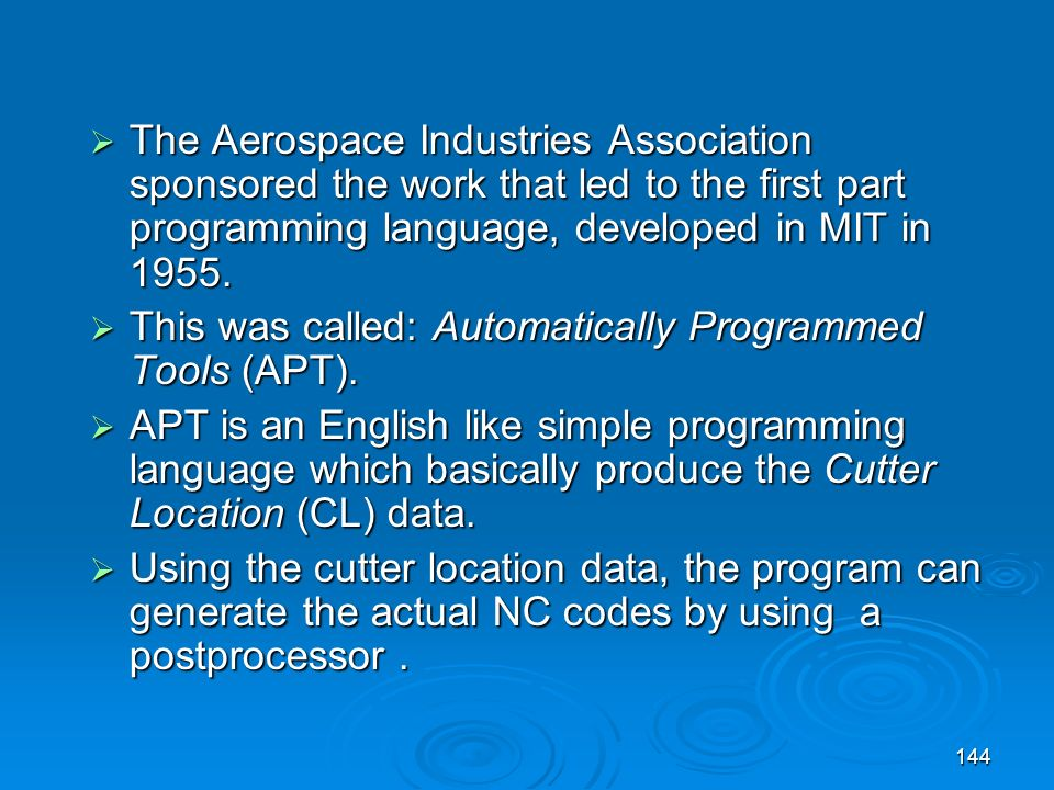 The Aerospace Industries Association sponsored the work that led to the first part programming language, developed in MIT in 1955.