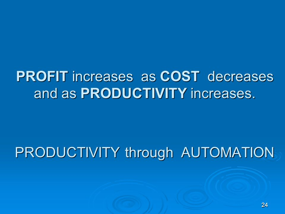PROFIT increases as COST decreases and as PRODUCTIVITY increases