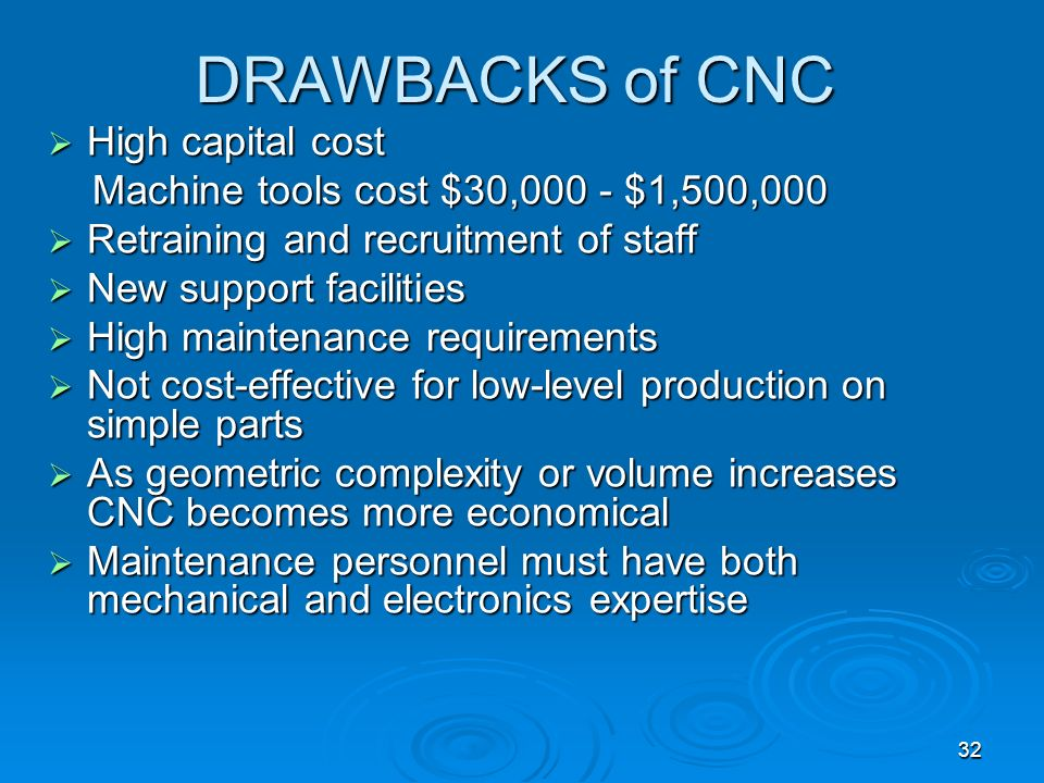 DRAWBACKS of CNC High capital cost
