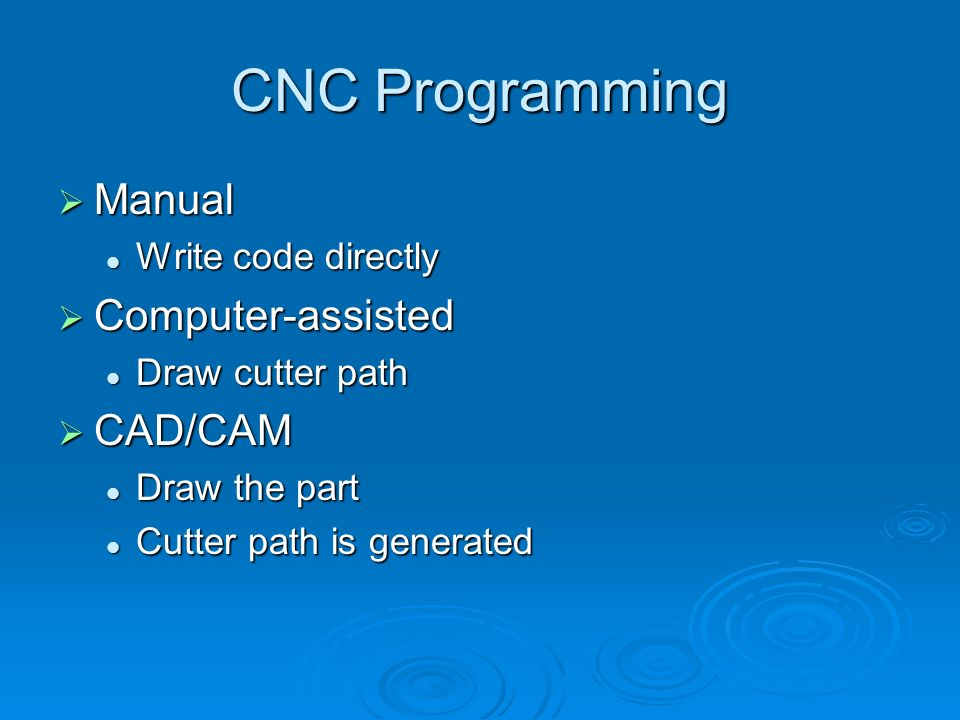 CNC Programming Manual Computer-assisted CAD/CAM Write code directly
