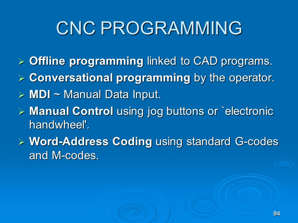 CNC PROGRAMMING Offline programming linked to CAD programs.