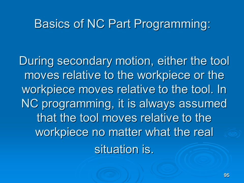 Basics of NC Part Programming: