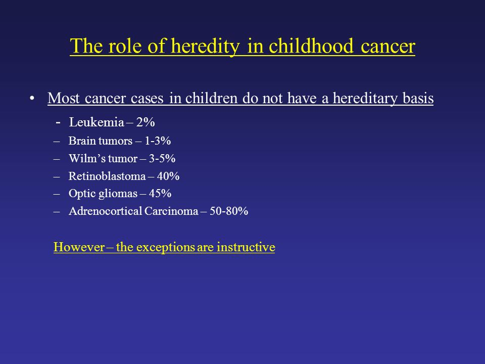 The role of heredity in childhood cancer