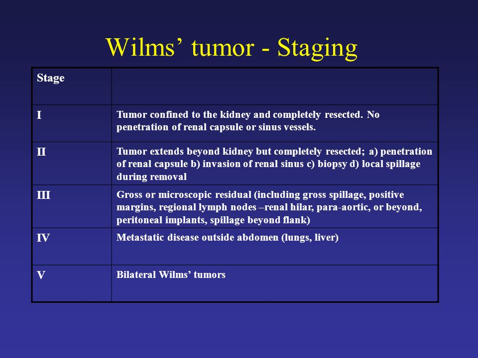 Wilms' tumor - Staging Stage I II III IV V