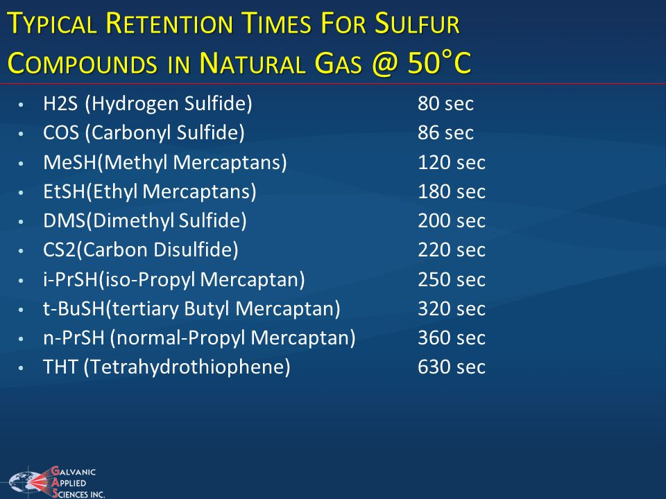 Typical Retention Times For Sulfur Compounds in Natural Gas @ 50°C