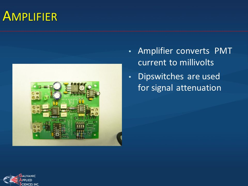 Amplifier Amplifier converts PMT current to millivolts