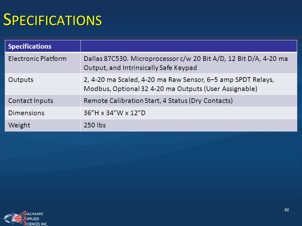 Specifications Specifications Electronic Platform
