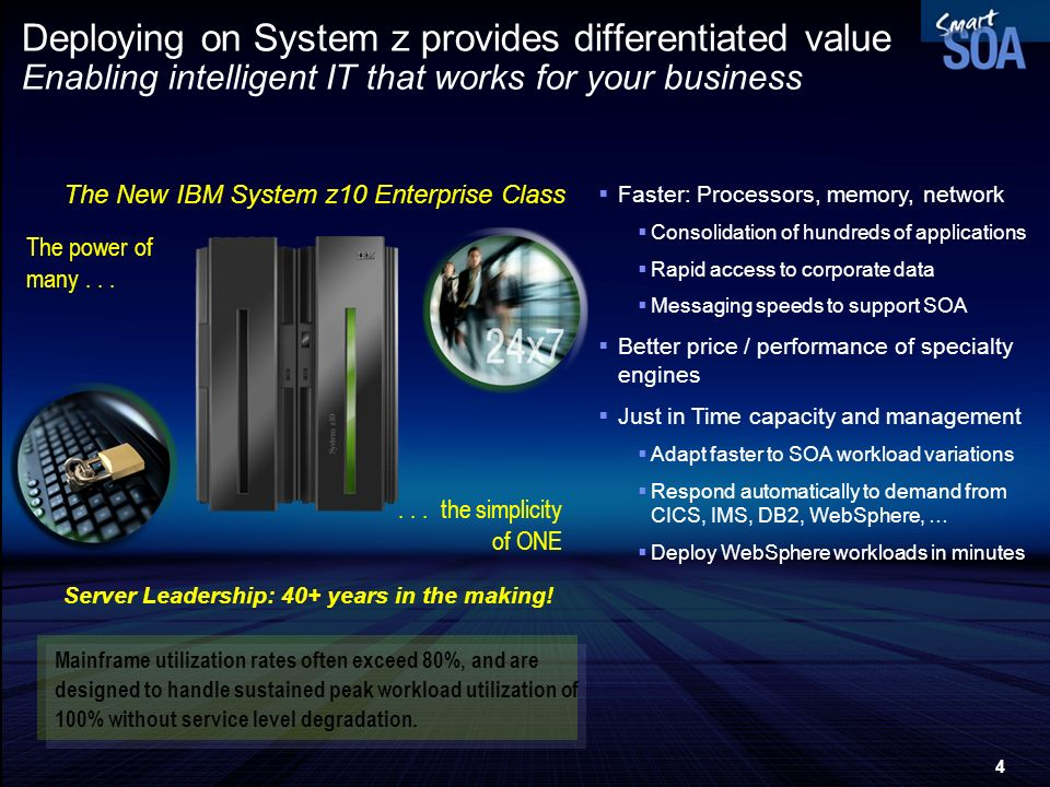 Deploying on System z provides differentiated value Enabling intelligent IT that works for your business