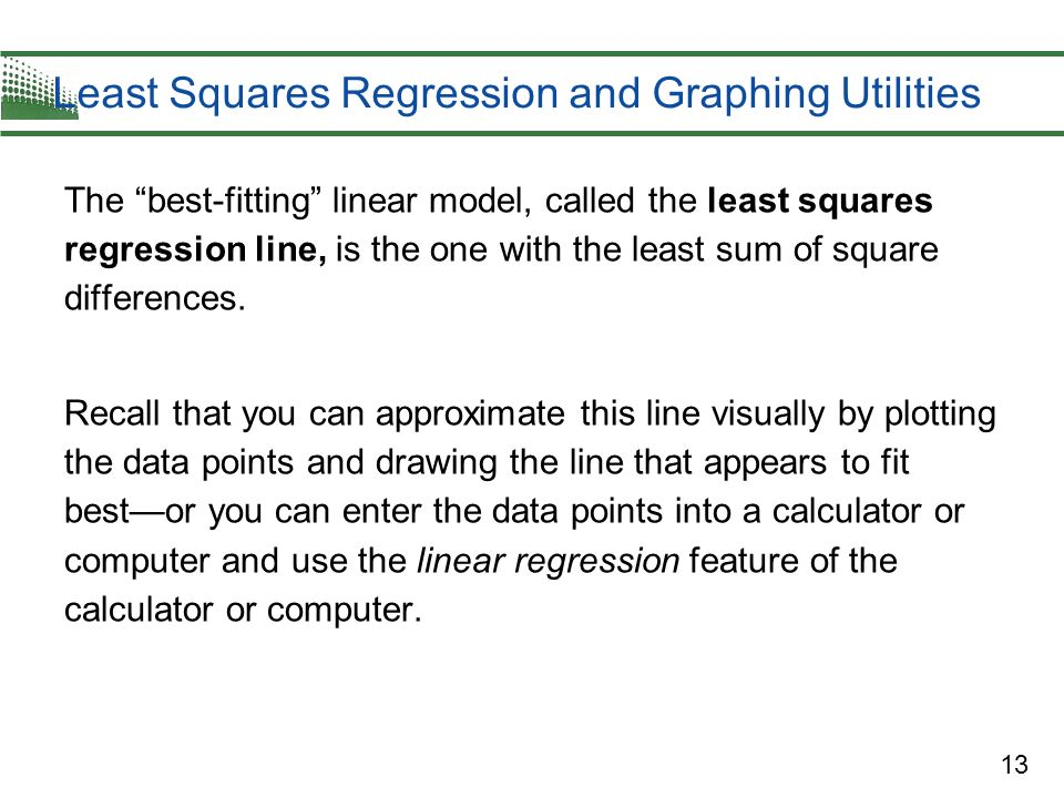 Least Squares Regression and Graphing Utilities