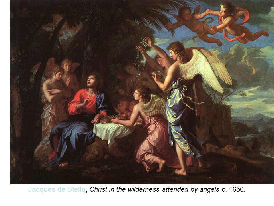 Jacques de Stella, Christ in the wilderness attended by angels c. 1650.