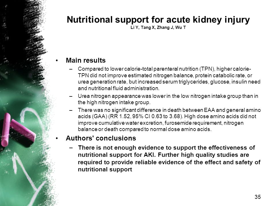 Nutritional support for acute kidney injury Li Y, Tang X, Zhang J, Wu T