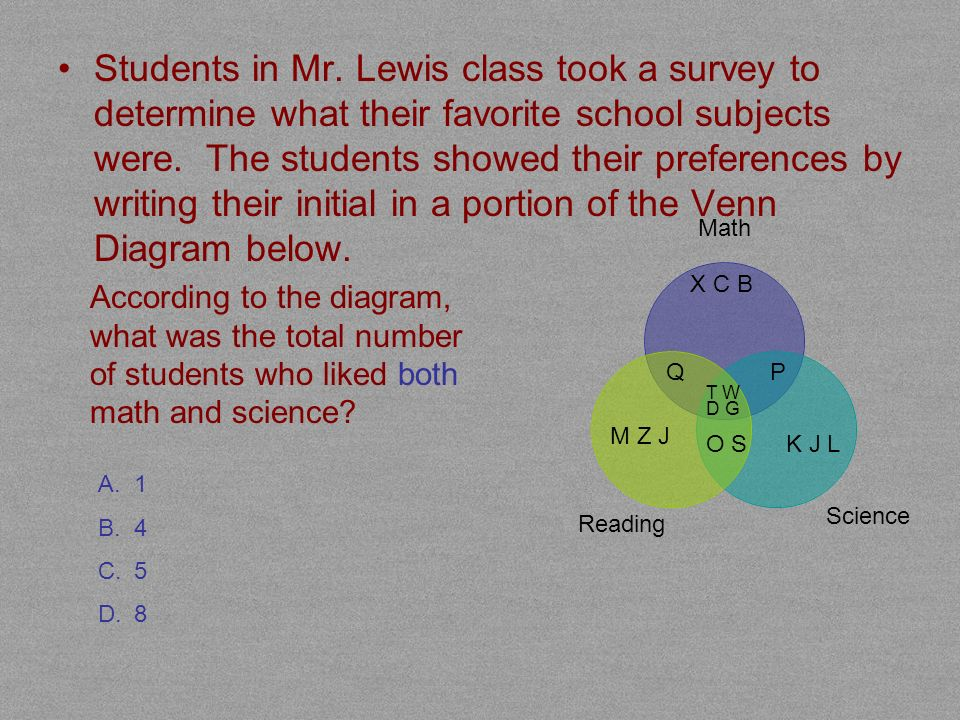 Students in Mr. Lewis class took a survey to determine what their favorite school subjects were. The students showed their preferences by writing their initial in a portion of the Venn Diagram below.