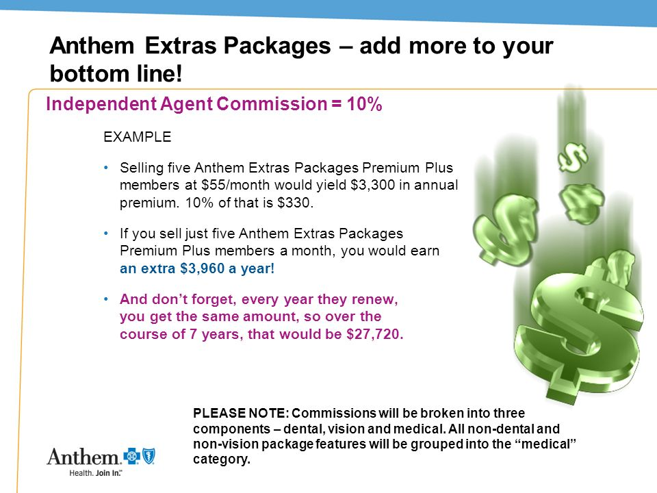 Anthem Extras Packages – add more to your bottom line!