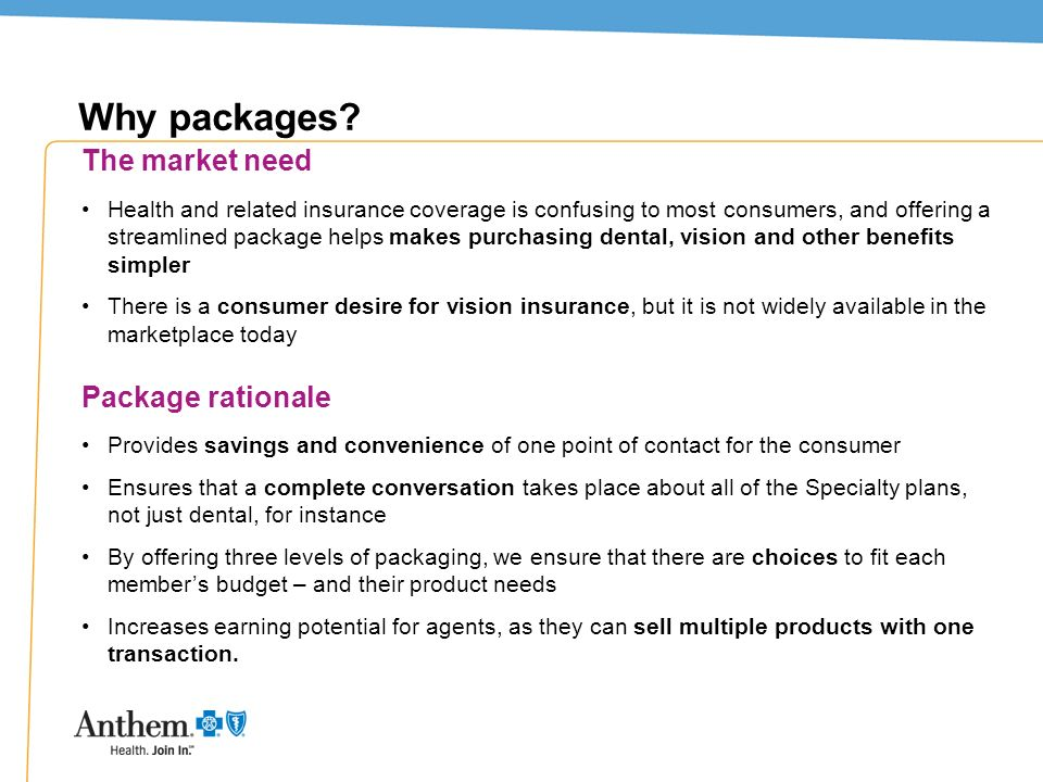 Why packages The market need Package rationale