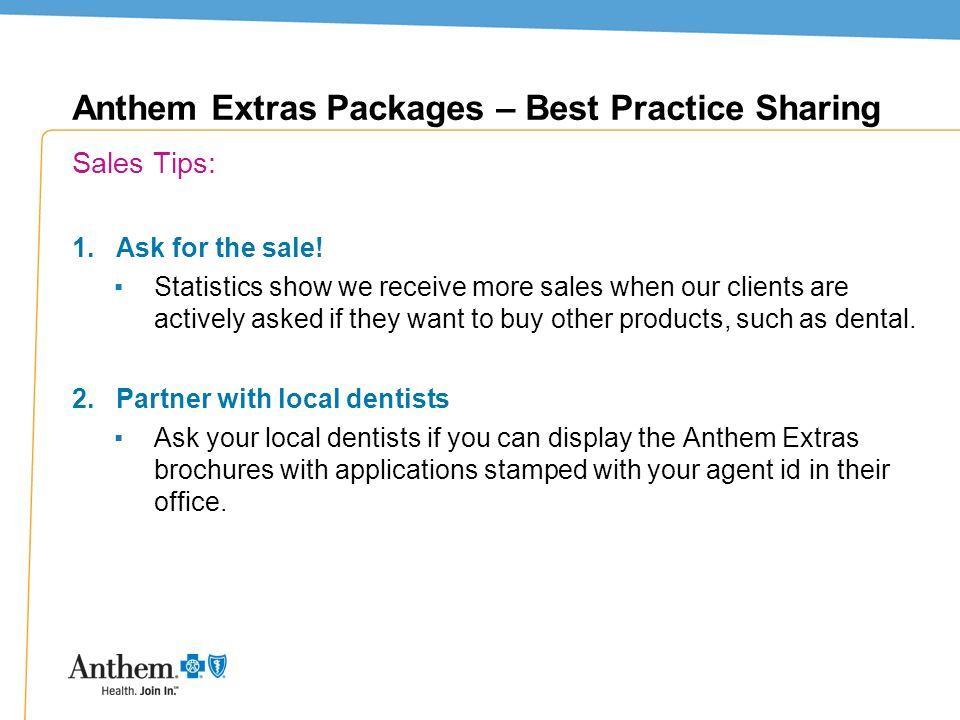 Anthem Extras Packages – Best Practice Sharing