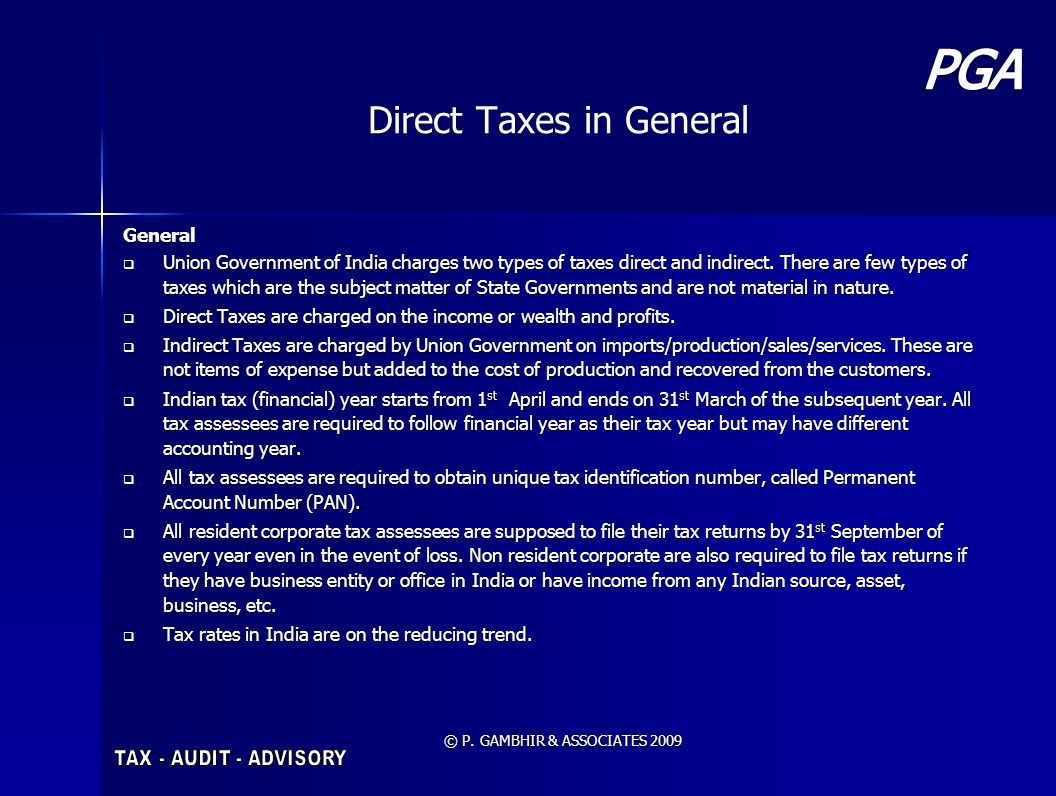 Direct Taxes in General