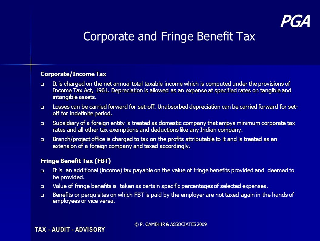 Corporate and Fringe Benefit Tax