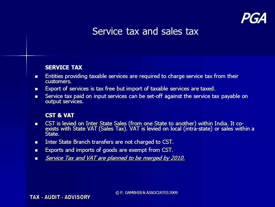 Service tax and sales tax