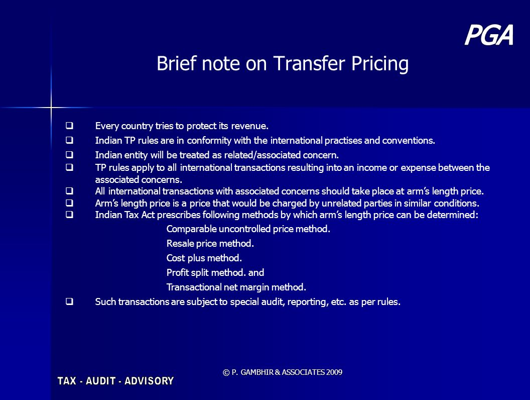 Brief note on Transfer Pricing