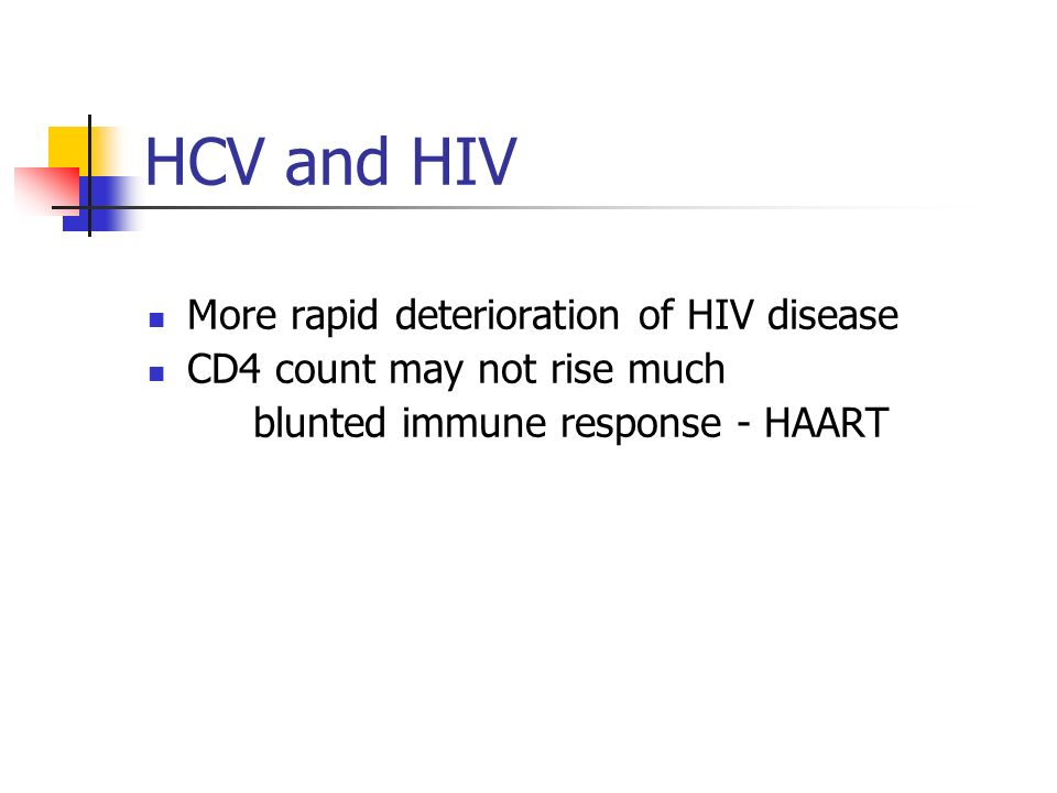 HCV and HIV More rapid deterioration of HIV disease