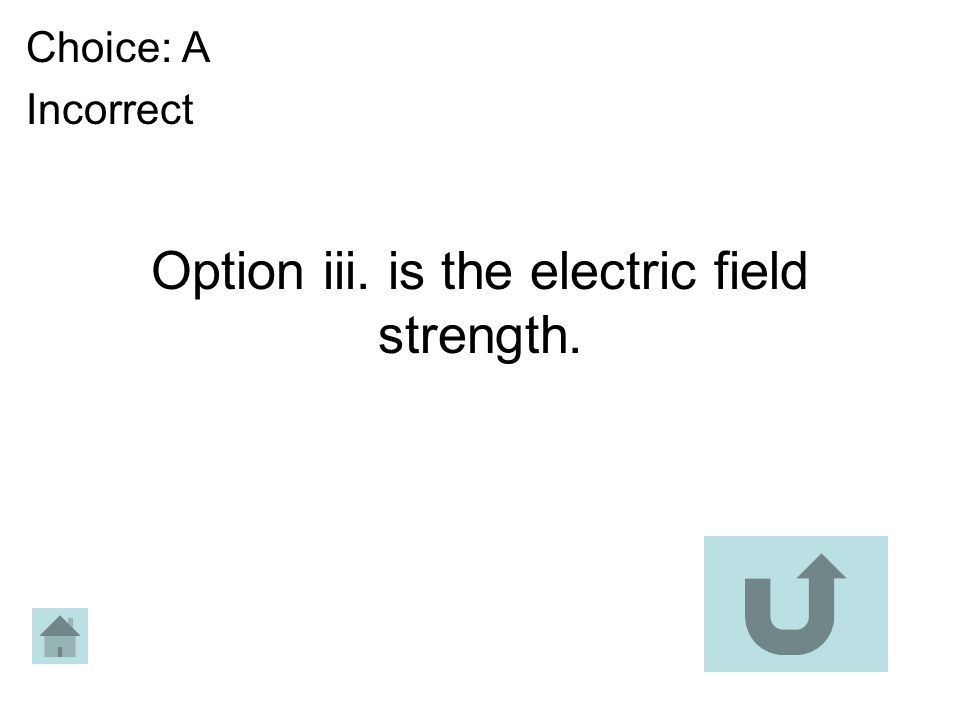 Option iii. is the electric field strength.