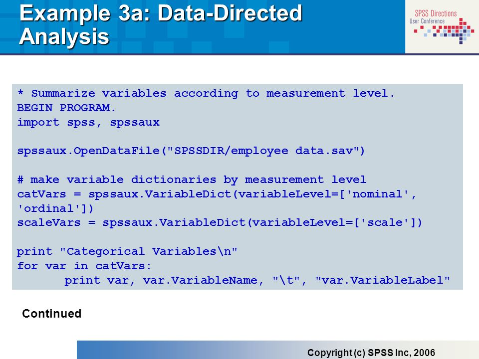 Example 3a: Data-Directed Analysis