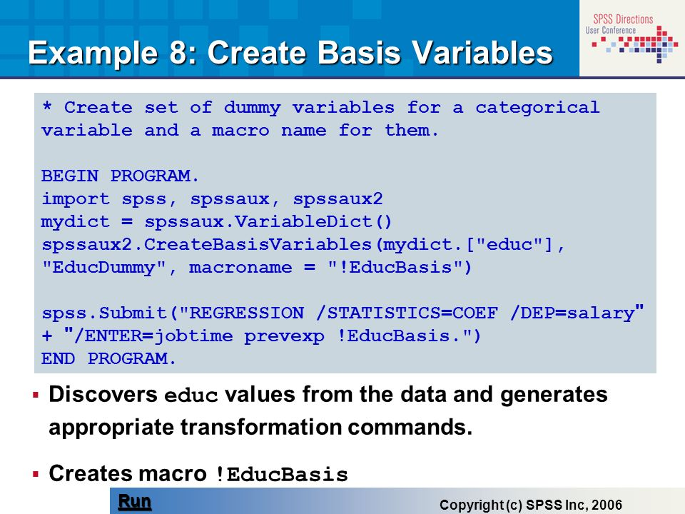 Example 8: Create Basis Variables