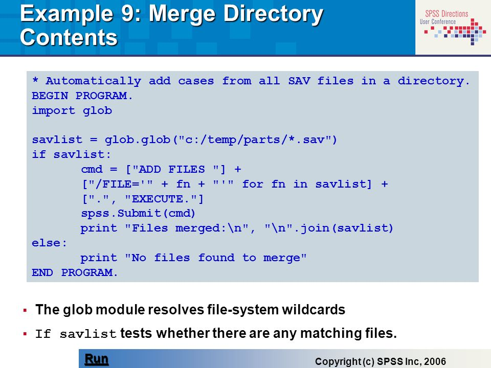 Example 9: Merge Directory Contents