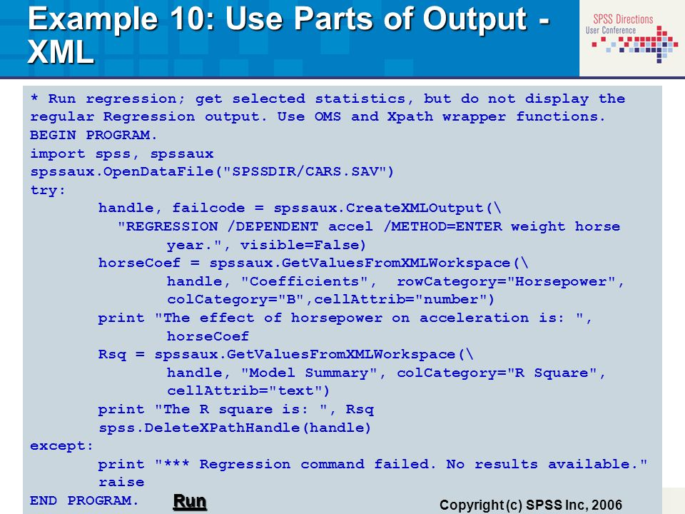 Example 10: Use Parts of Output - XML