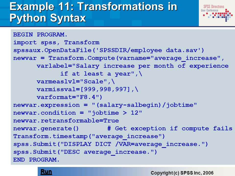 Example 11: Transformations in Python Syntax