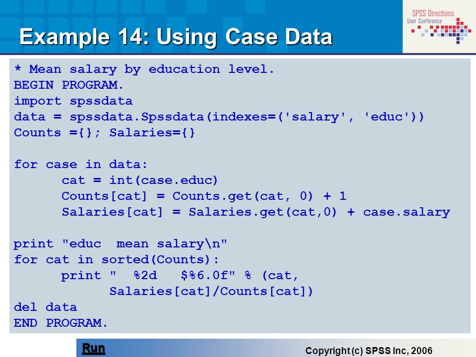 Example 14: Using Case Data