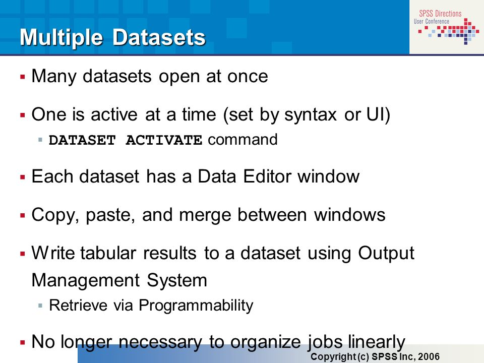 Multiple Datasets Many datasets open at once