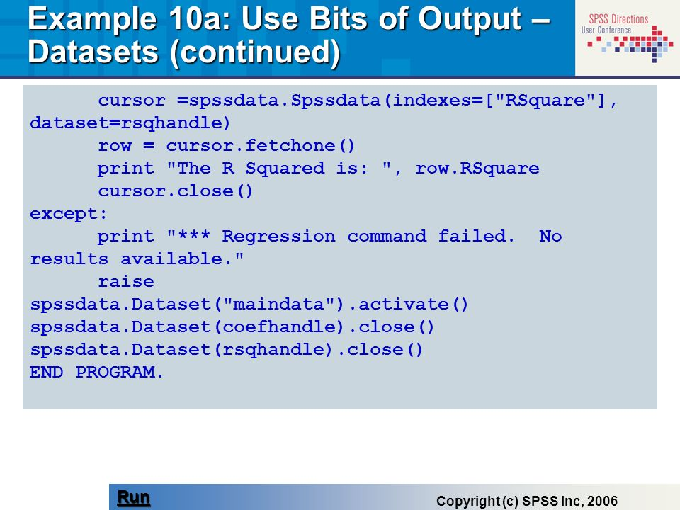 Example 10a: Use Bits of Output – Datasets (continued)