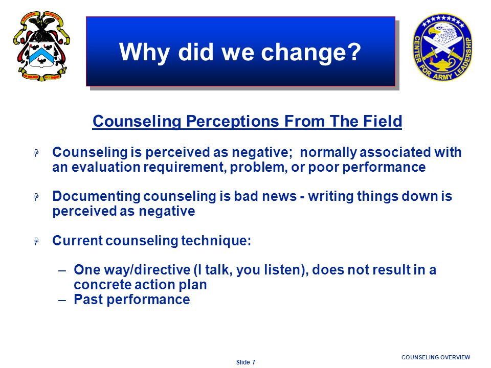 Counseling Perceptions From The Field