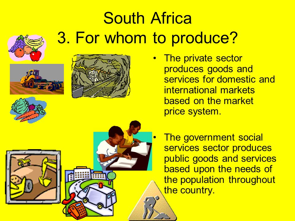 South Africa 3. For whom to produce